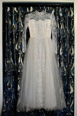 vintage wedding dress 1950's lace and tulle