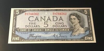 1954 Bank of Canada $5 Dollar DEVIL'S FACE Banknote B/C