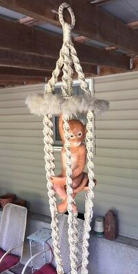 Vtg macrame plant hanger w/ Ceramic Monkey On Swing Weird Retro Home Decor