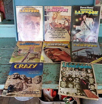 8 old Vtg National Lampoon Magazines sc books 1970s