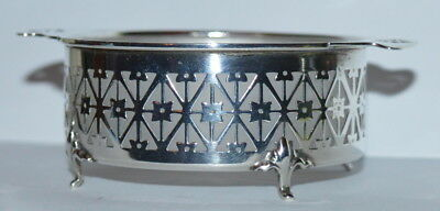 Antique Hallmarked Pierced Sterling Glass Footed Candy Dish Deakin & Francis