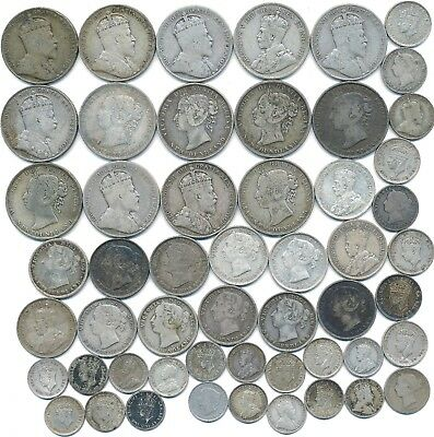 53 Old Silver Coins From Newfoundland Canada 1872-1945