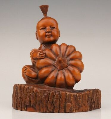 lad pumpkin Big Chinese Old Boxwood Handmade Carved figure Statue valuable