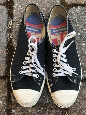 Vintage 1960s Kinsman Canvas Sneakers Converse Jack Purcell Low 8 Black USA Made