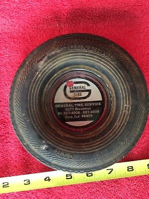 Old Vintage General Tire Advertising Gary Indiana IN. Ashtray Rubber Wheel Sign