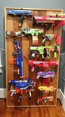 Large Nerf Gun Lot with Custom Wood Display Wall