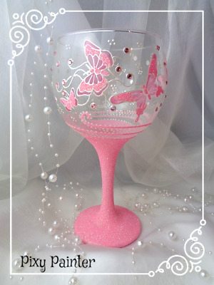 BUTTERFLY Glitter Pink GIN Balloon Glass PERSONALISED  Hand Painted Gift wrapped