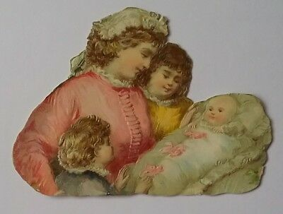 Sweet, Embossed Victorian Scrap, Mother, 2 Children and a Baby. App 10×7cms