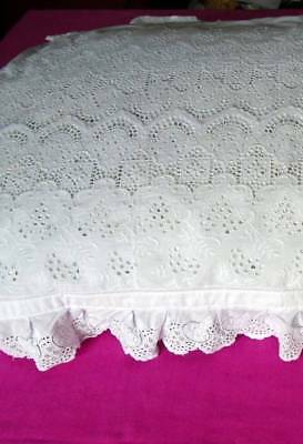 Unique Vintage Broderie Anglaise Pillowcase Superb Detail~Hand Embroidered Frill