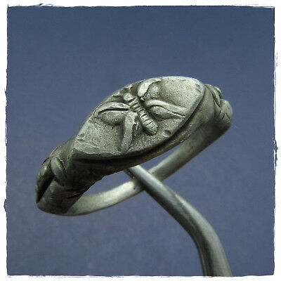 ** BUTTERFLY **  ancient SILVER  Roman ring !
