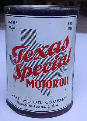 Texas Special Motor Oil quart Can from Maritime Oil Cmpany Houston Texas
