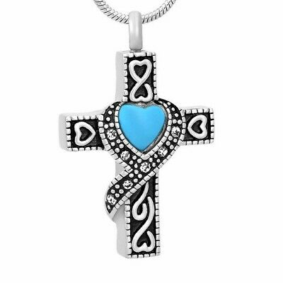 Silver Cross Urn Necklace with Faux Turquoise Heart - Cremation Ashes Jewelry