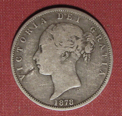 1878 Uk Half Crown - Queen Victoria Sterling Coin, A Few Surface Issues