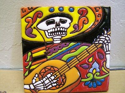 Day of the Dead Tile - Skeleton Guitarist with Yellow Sombrero - Mexico