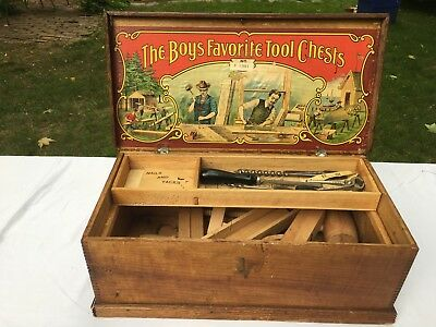 Antique paper label tool chest / The Boy's Favorite Tool Chest No. F 1391