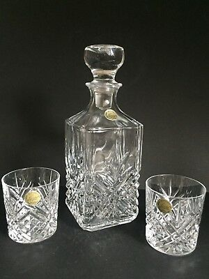 Cristal D'arques Square Body Crystal Glass Whiskey Decanter & Two Tumblers
