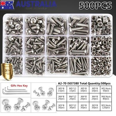 503x 304 Stainless Steel M3 M4 M5 Hex Button Bolts Screws Nuts Kit +Gift Hex Key