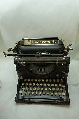 VINTAGE UNDERWOOD TYPEWRITER STANDARD NO 5 ANTIQUE BLACK STEEL 1900s NICE d