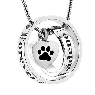 No Longer by My Side Heart Urn Necklace & Paw Print Ashes Pet Cremation Jewelry