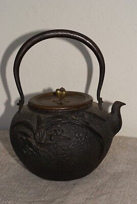 Antique Japanese Meiji  Iron and Bronze Kettle with Inlays,Signed and Hallmarked