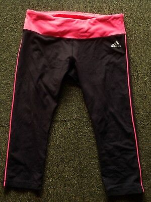 Adidas size S black compression shorts with fluoro pink leg stripe in EC