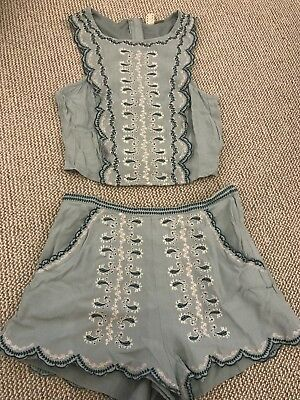H&M Womens Blogger Mint green Co-ord Crop Top 6 And Shorts 8 Matching Set