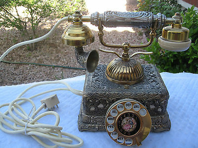 "Japan Vintage Victorian ""french Style"" Rotary Dial W/brass Filigree Case Phone"