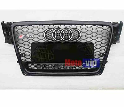 RS4 Style Grill With Quattro Black Frame Chrome Rings For 2009-11 Audi B8 A4 S4