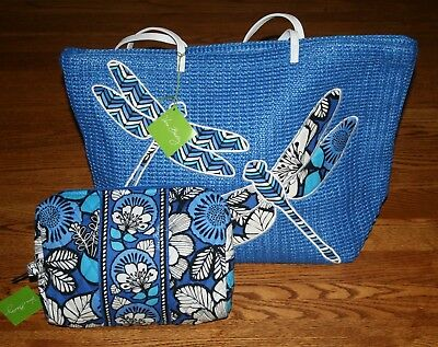 Vera Bradley BLUE BAYOU LARGE STRAW TOTE & LARGE COSMETIC  beach seashore lot