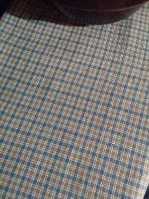 "Antique Linen Indigo Blue Brown Plaid Homespun 19thC 26.5"" x 18"""