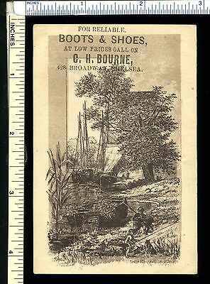 BOURNE Boots & Shoes Victorian Trade Card; Great Seaside Tall Ships; CHELSEA, MA