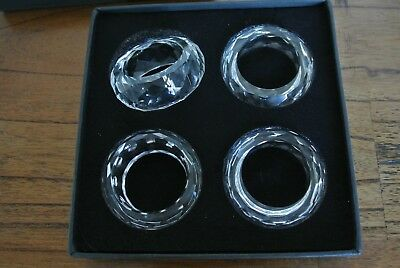 Royal Doulton Glass Crystal Napkin Rings / Holders X 4 In Box