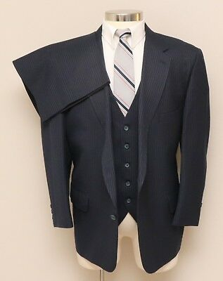 Vintage Mens 48S Portly Harmony Clothes 3 Piece Blue Pinstripe Wool Blend Suit