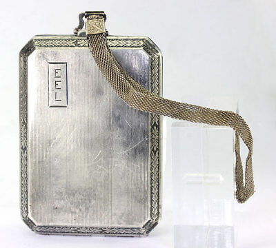 Antique coin purse sterling silver dance card mirror compact wristlet intact 3oz