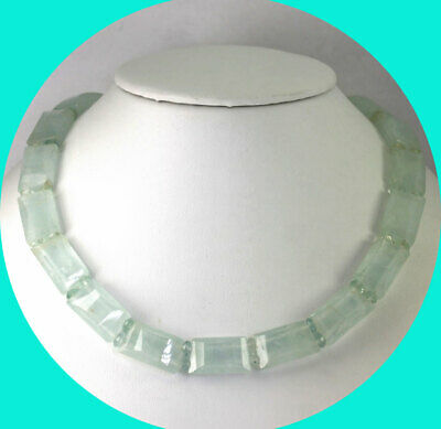 Vintage aquamarine choker necklace 14K white gold sterling silver 271.80CT 17.5""