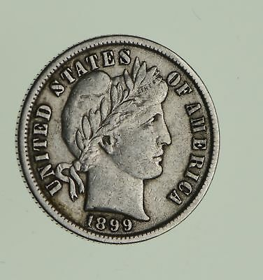 Higher Grade - 1899 Barber Liberty US Silver Dime - Great Detail in LIBERTY *990