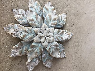 Stunning Blue Distressed White Metal Flower Wall Decor Fit Any