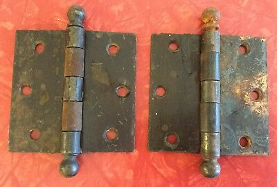 Antique Steampunk Pair of Heavy Iron MCK Flat Hinges~3.5in