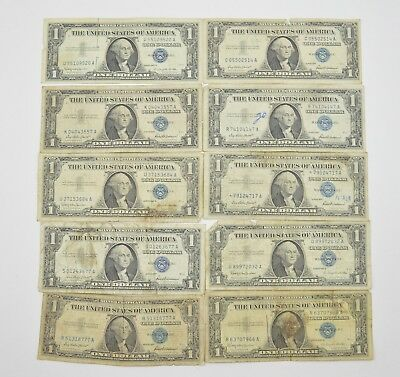 Lot (10) 1957 or 1935 $1.00 Silver Blue Seal Certificate Notes Collection *461