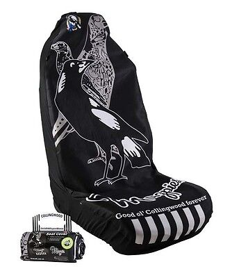 OFFICIAL AFL CAR SEAT COVERS x 1 - COLLINGWOOD - FITS 1 BUCKET SEAT