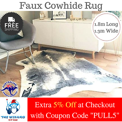 Faux Cow Hide Cowhide Grey Skin Floor Rug Mat Home Decor Premium Quality Fibers