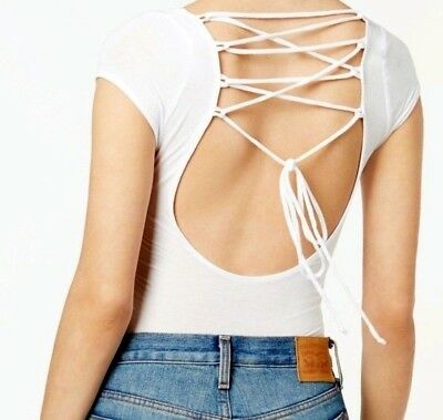 NWT Free People All About The Back Bodysuit Strappy Lace-Up Top White S M L e5462fbbd