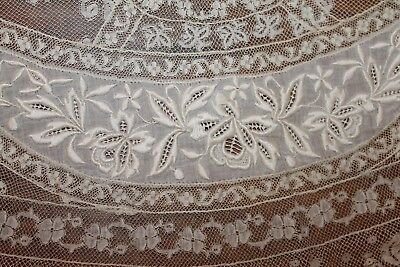 """FINE Antique LACE TABLECLOTH 42"""" Round BEST EMBROIDERY"""