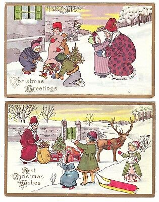 Lot of 2 Antique Christmas Postcards Santa Claus Arts & Crafts Style Series 402