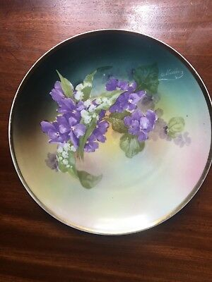 Hand Painted Flowers Gold Trim Plate E Muller German French Artist 1890 - 1910