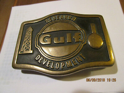 Gulf Oil Research Department  brass belt buckle Made in USA! Gulf Oil Corp.