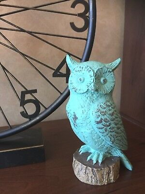 Turquoise Owl On A Stump  Figurine Statue Home Inside Or Garden Decor