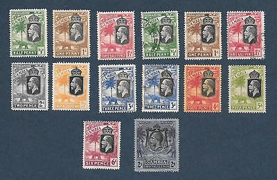 "1922 - 29 Gambia "" Kgv Mix "" ~ Lot Of 14 ~ Mint Hinged / Used , Gum Toning"
