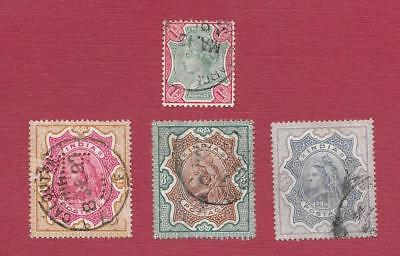 """1890's INDIA """" QUEEN VICTORIA """" * MIX OF RUPEE VALUES *~ LOT OF 4 ~ USED HINGED"""