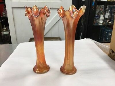 Vintage Pair Vase Vases Ruffle Frill Carnival Glass Fluted Marigold Tall